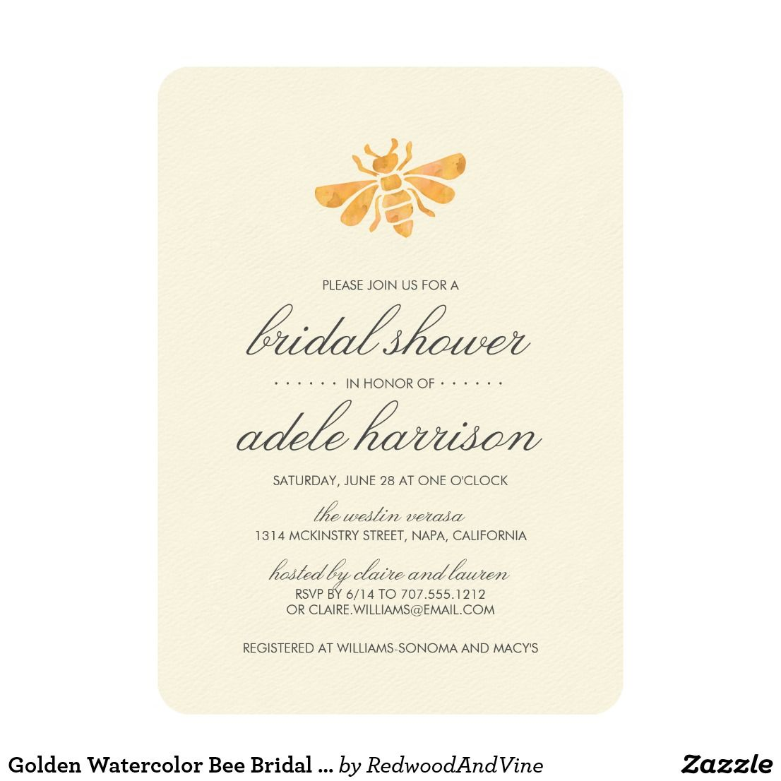 Golden Watercolor Bee Bridal Shower Card For The Nature Loving Bride