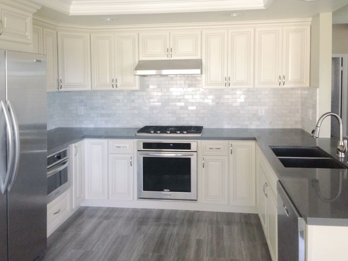 White Cabinets And Grey Countertops Antique White Kitchen Cabinet With Grey Quartz Countertop