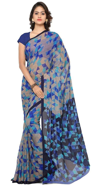 e08b2d87ee6367 Vaamsi Chiffon Saree (Rc3230 Blue)  Amazon.in  Clothing   Accessories
