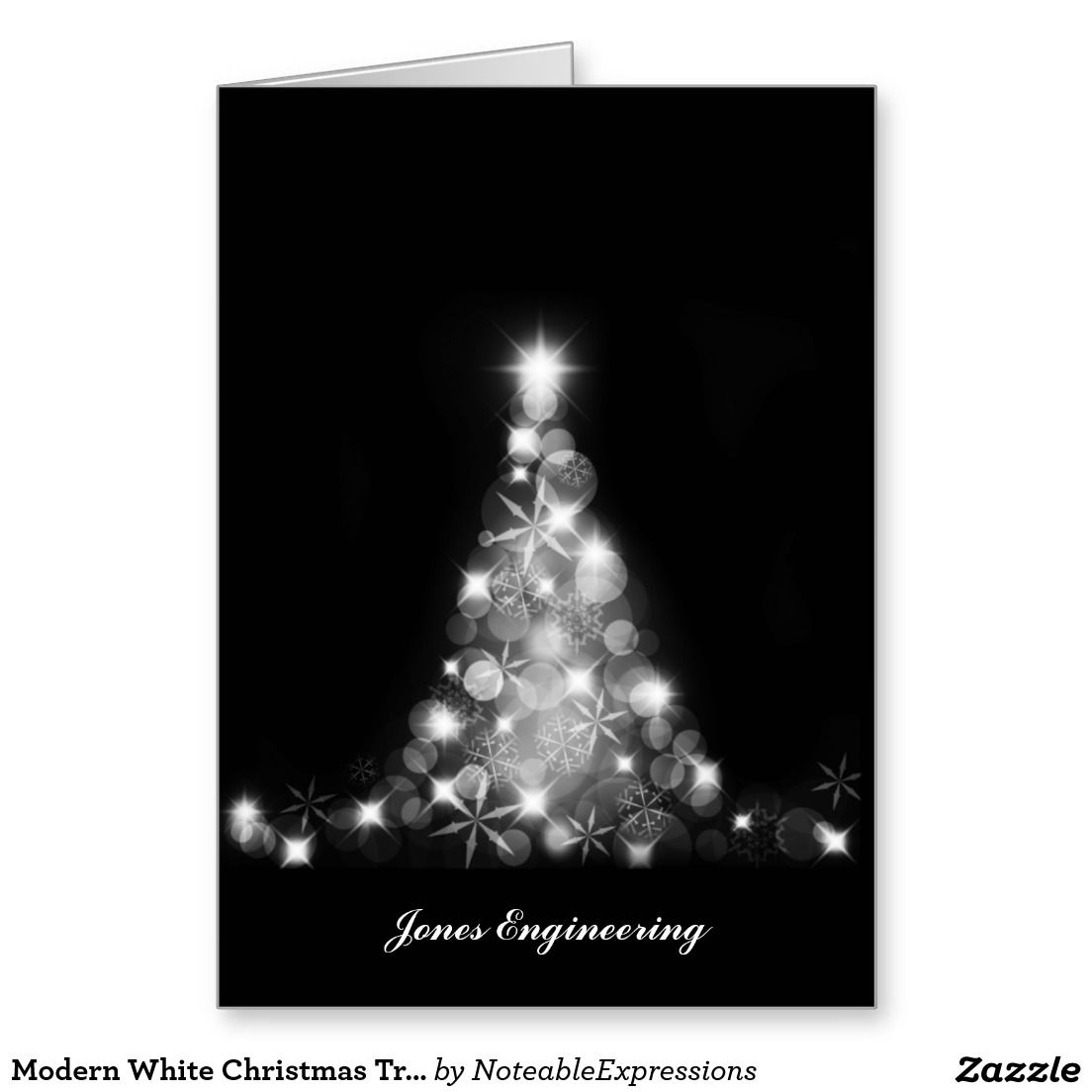 Modern White Christmas Tree Graphic On Black Greeting Card Holiday