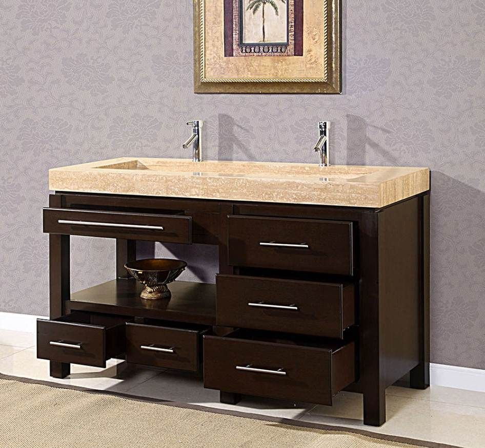 An Elegant King Modern Trough Sink With Full Storage Bathroom