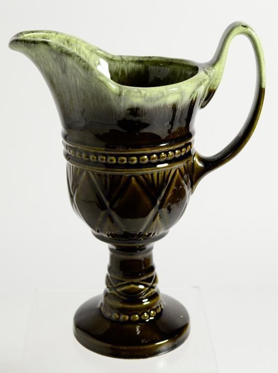 Vintage Ceramic Pitcher Flower Vase Forest Green Hull Usa F32 10
