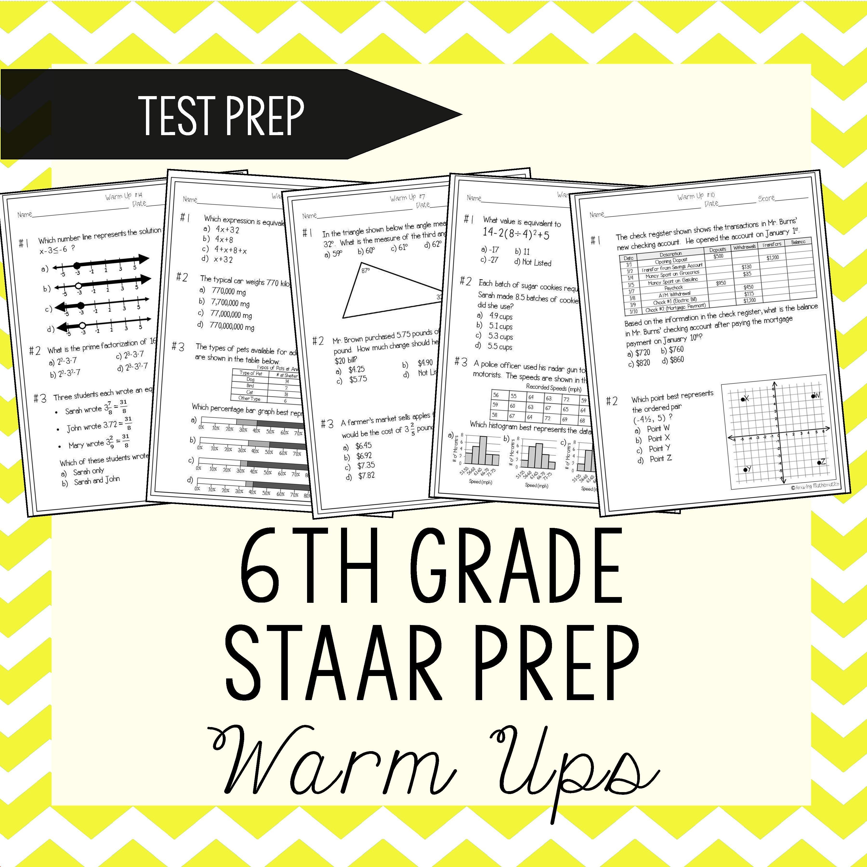 6th Grade Math Warm Ups Staar Review Prep 6th Grade Staar Prep