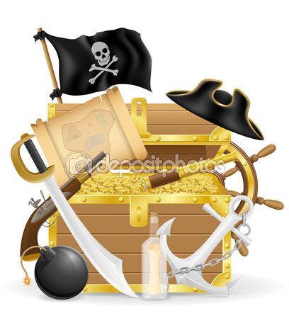 Концепция пират иконки векторные иллюстрации — стоковая иллюстрация #93426392
