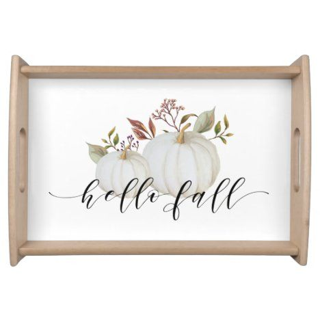 Festive Pumpkin Hello Fall Calligraphy Serving Tray