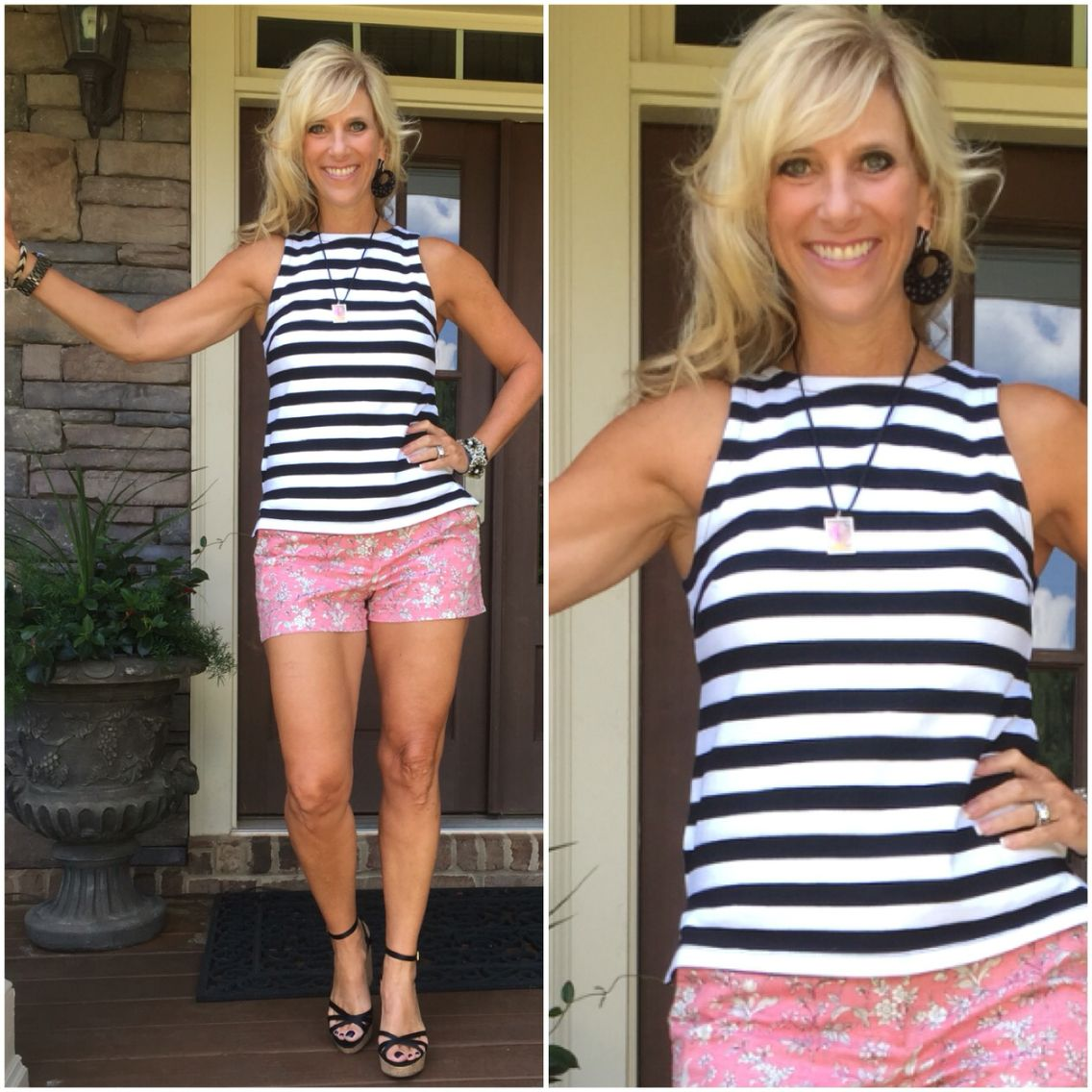 Bold stripes with floral print. Perfect combination. Top #bananarepublic @bananarepublic Shorts @gap #gap. Shoes @ninewest #ninewest www.finleysfivefold.com