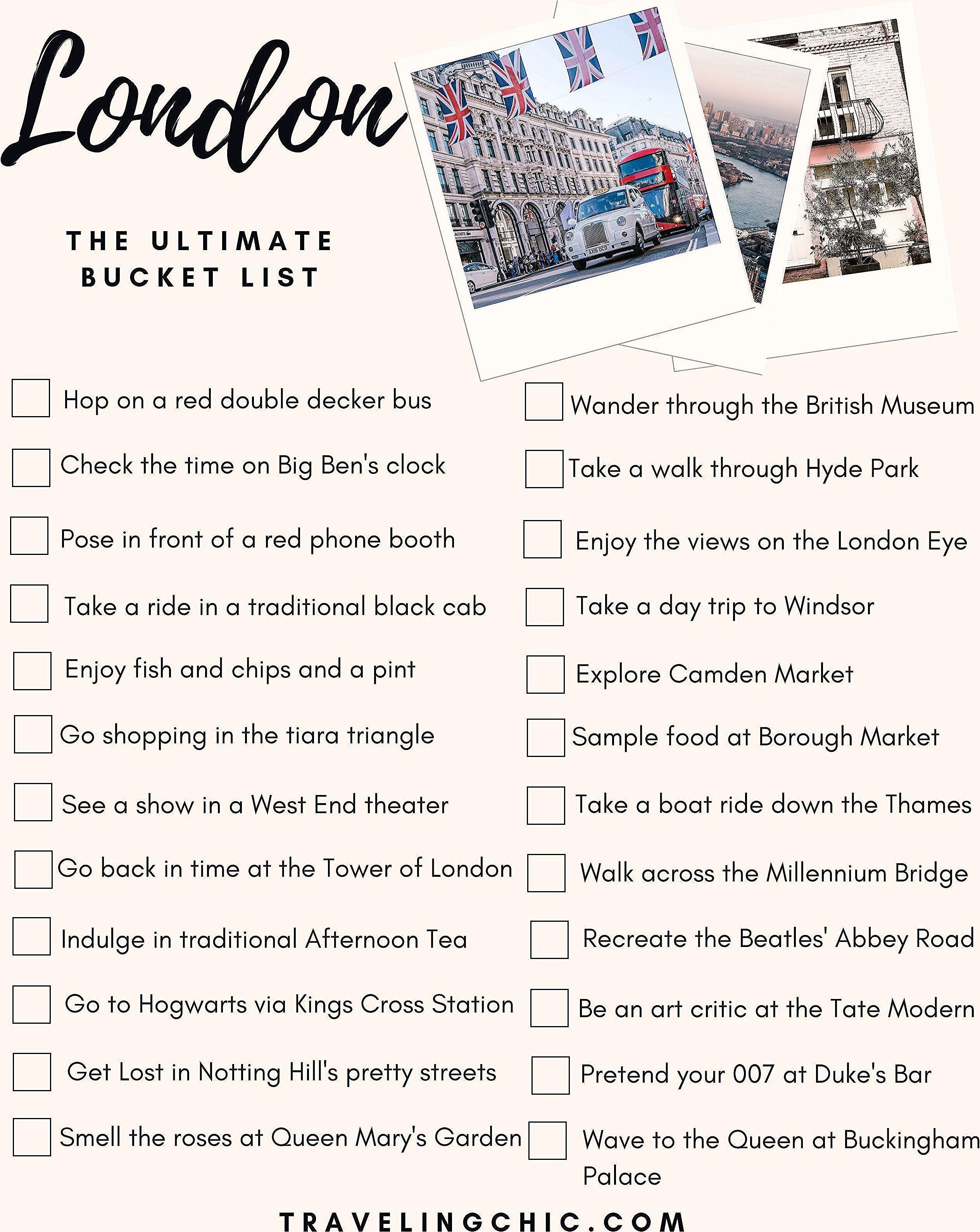 London Bucket List of things to do and sights to see. A London travel guide and perfect itinerary for everything to eat, see, do in England. Travel tips, insights, and must see activities for your trip or vacation to London! #london #londonengland #england #travel #guide