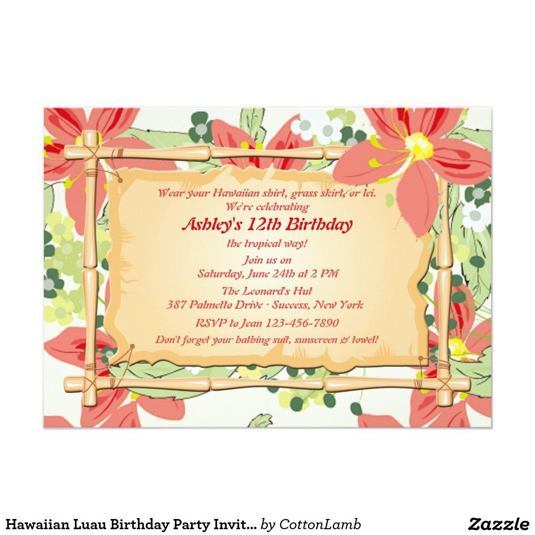 Luau Birthday Party Invitations