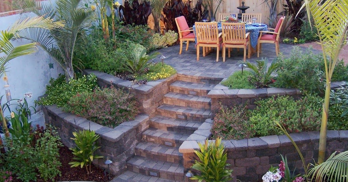 This Backyard Had A Tricky 4 Elevation Change To Deal With By Using Country Manor Keys Backyard Hill Landscaping Sloped Backyard Landscaping Sloped Backyard