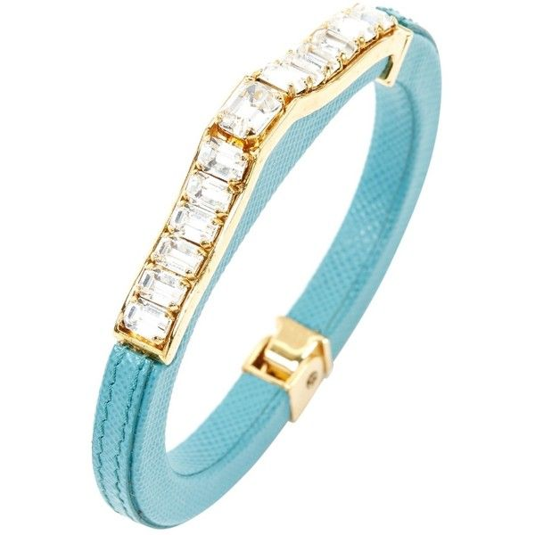 Pre-owned Prada Leather Bracelet ($218) ❤ liked on Polyvore featuring jewelry, bracelets, turquoise, women jewellery bracelets, preowned jewelry, leather jewelry, pre owned jewelry, prada and leather bangles