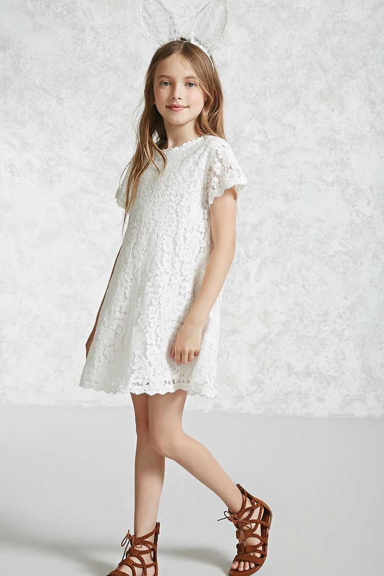 Girls Lace Swing Dress Kids Bridal Party in 2019