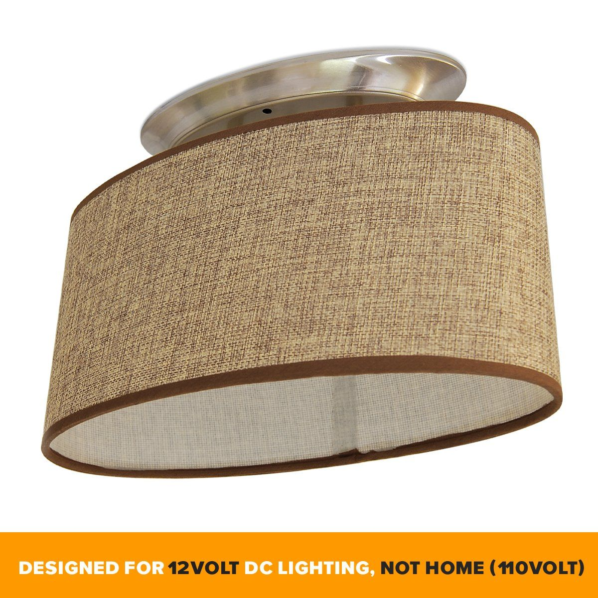Dream Lighting 12volt Dc Fabric Light Fixture Commercial Decor Lights Brown Burlap Highelliptical 12 Volt Light Fixtures Led Light Fixtures Ceiling Lamp Shades