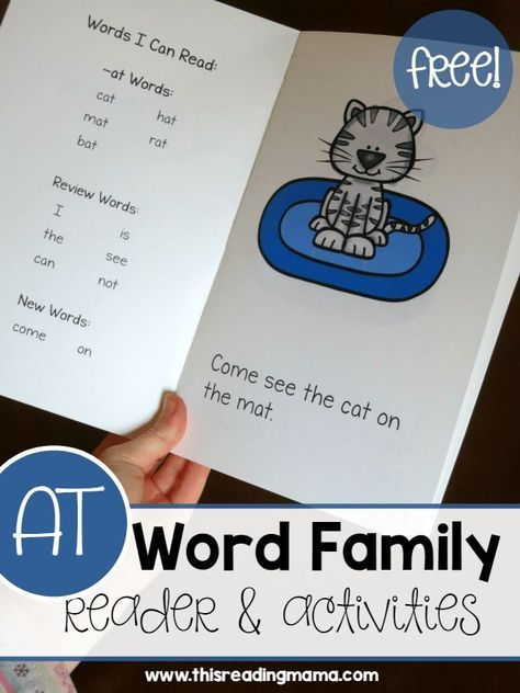 Learn to Read AT Word Family Reader & Activities | Phonics | Pinterest
