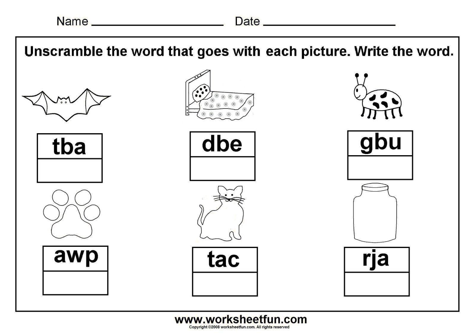 Cvc Worksheets For Kindergarten Unscramble Cvc Words