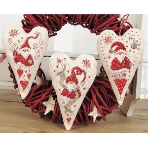 Christmas Gnomes Holiday Hearts - Cross Stitch, Needlepoint, Stitchery, and Embroidery Kits, Projects, and Needlecraft Tools | Stitchery