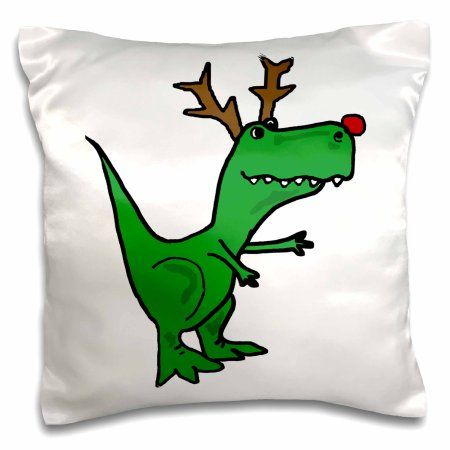 3dRose Funny Green T-Rex Dinosaur Dressed as Rudolph Reindeer, Pillow Case, 16 by 16-inch