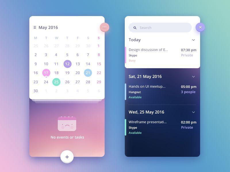 Stunning Examples of Calendar Mobile App Design Flat UI, Material
