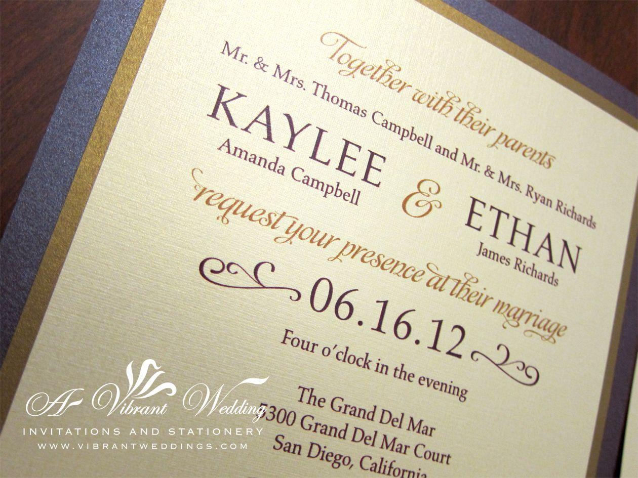 ruby purple gold wedding invitation modern contemporary design - Purple And Gold Wedding Invitations