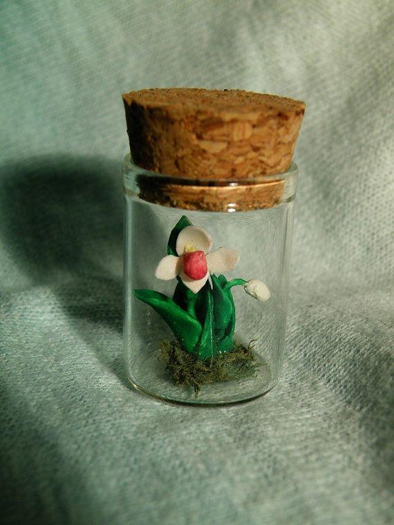 Orchid flower in Glass bottle Pendant by ThePurpleArtichoke7, €12.00