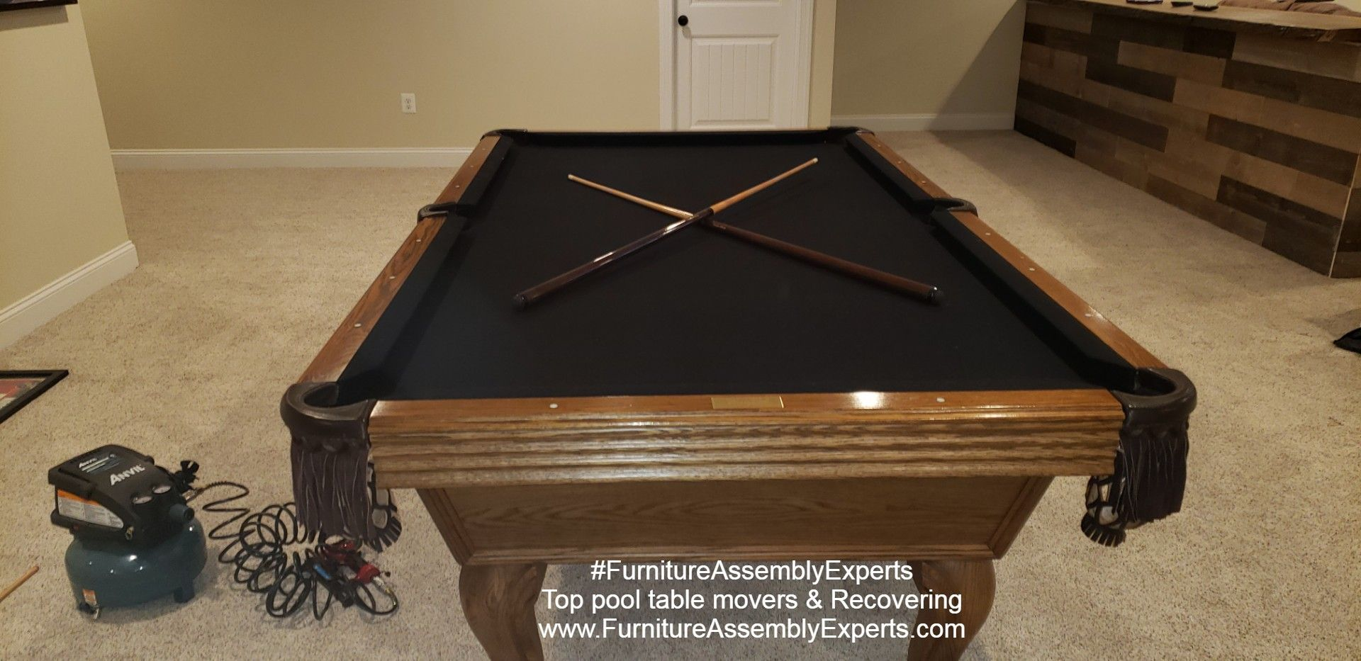 pool table moving and reassembly completed for a customer