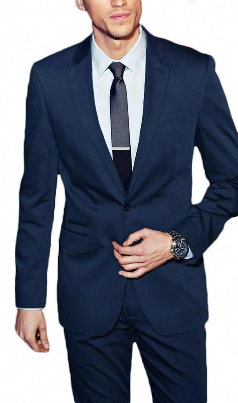 ab4a8dafca3c Slim Fit Navy Blue Notch Lapel Men Suits 2 Pieces Wedding Suits for Men  Groomsmen Suit Business Suits (Jacket+Pants+Tie). Yesterday s price  US   85.70 ...