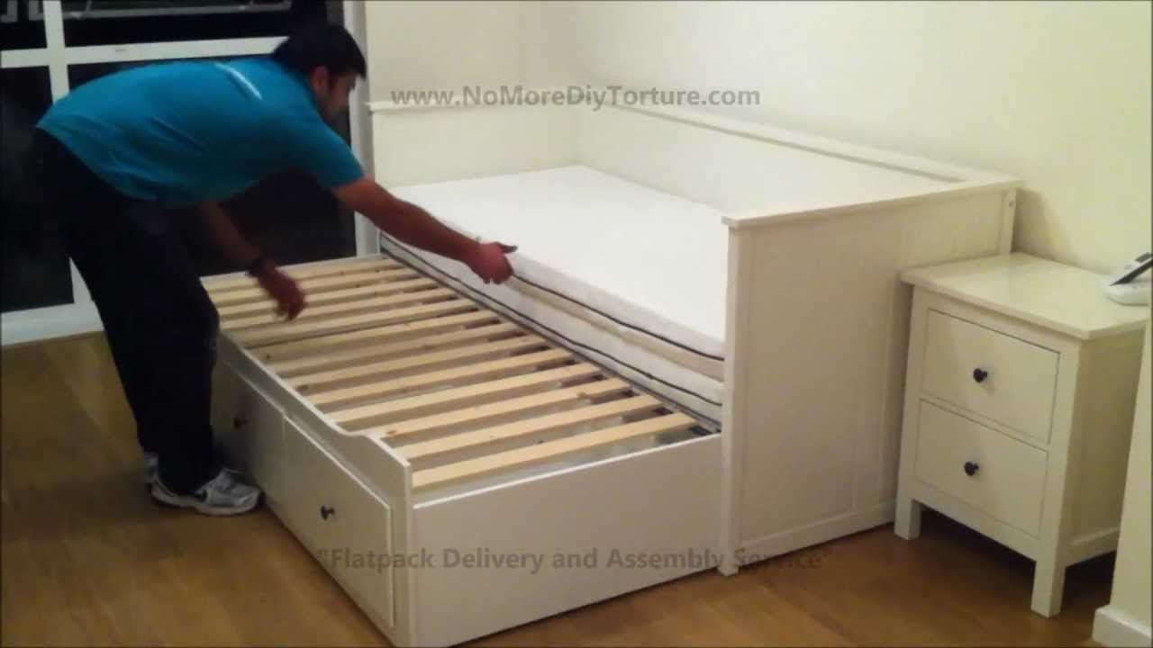 Ikea hemnes day trundle bed with 3 drawers white no for Ikea day bed double