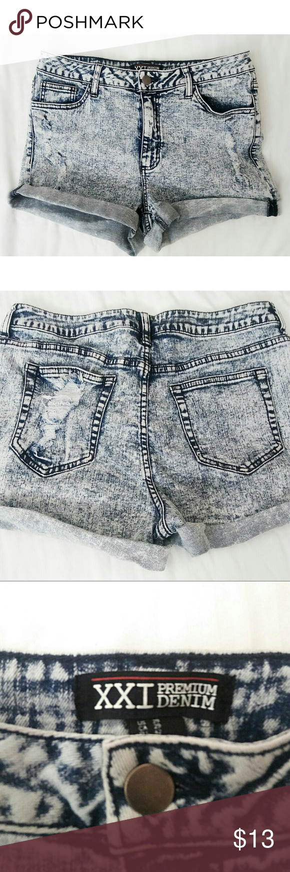 XXI Premium Acid Wash Denim shorts Stretch denim fabric in great condition. Forever 21 Shorts