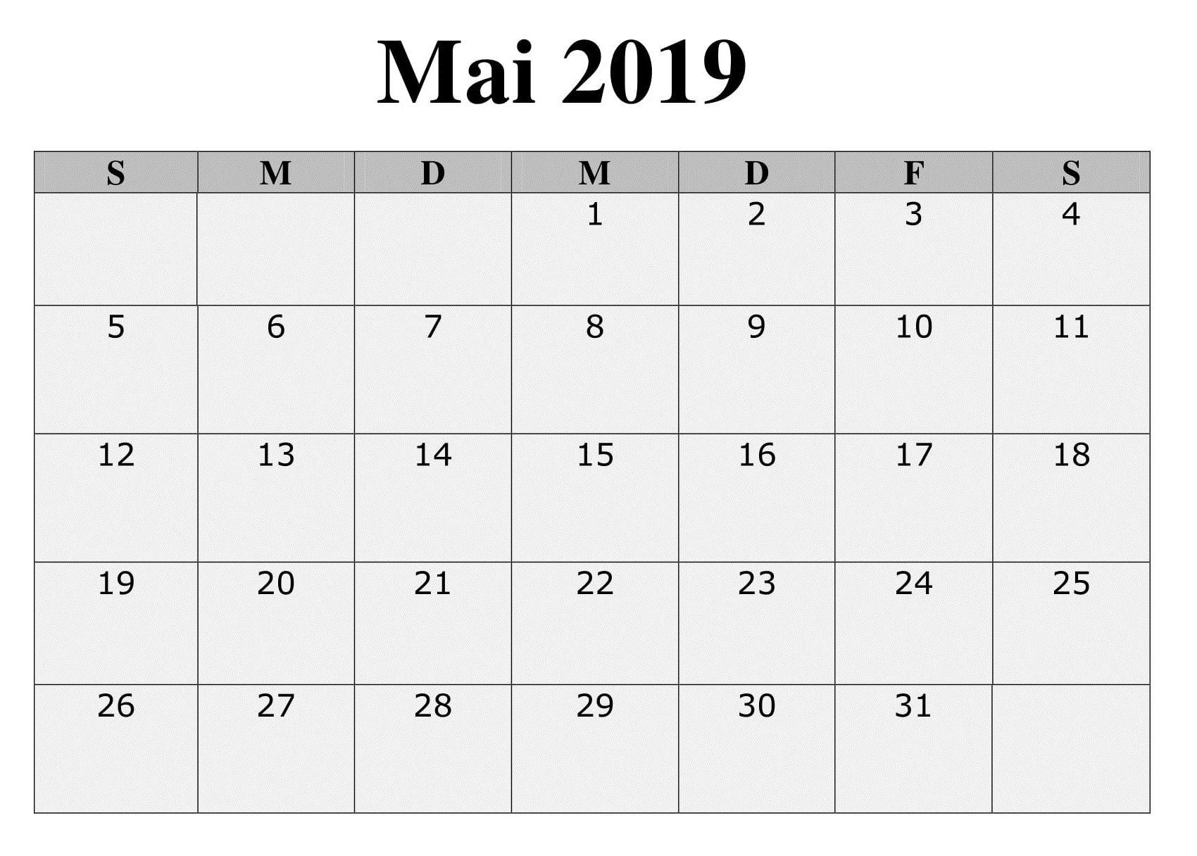 Kalender Mai Zum Ausdrucken Planer
