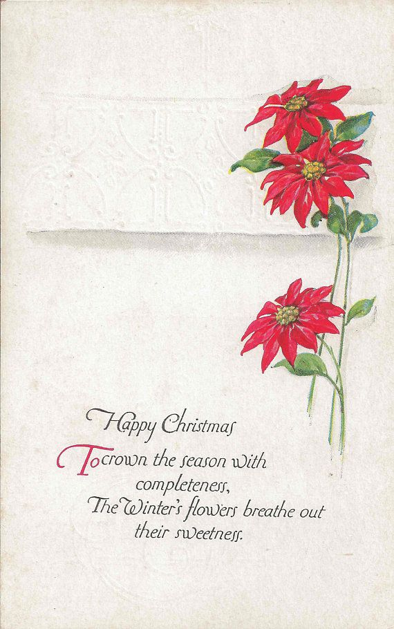 early 1900 s antique blank postcard with charming happy christmas message on elegant white embossed background and