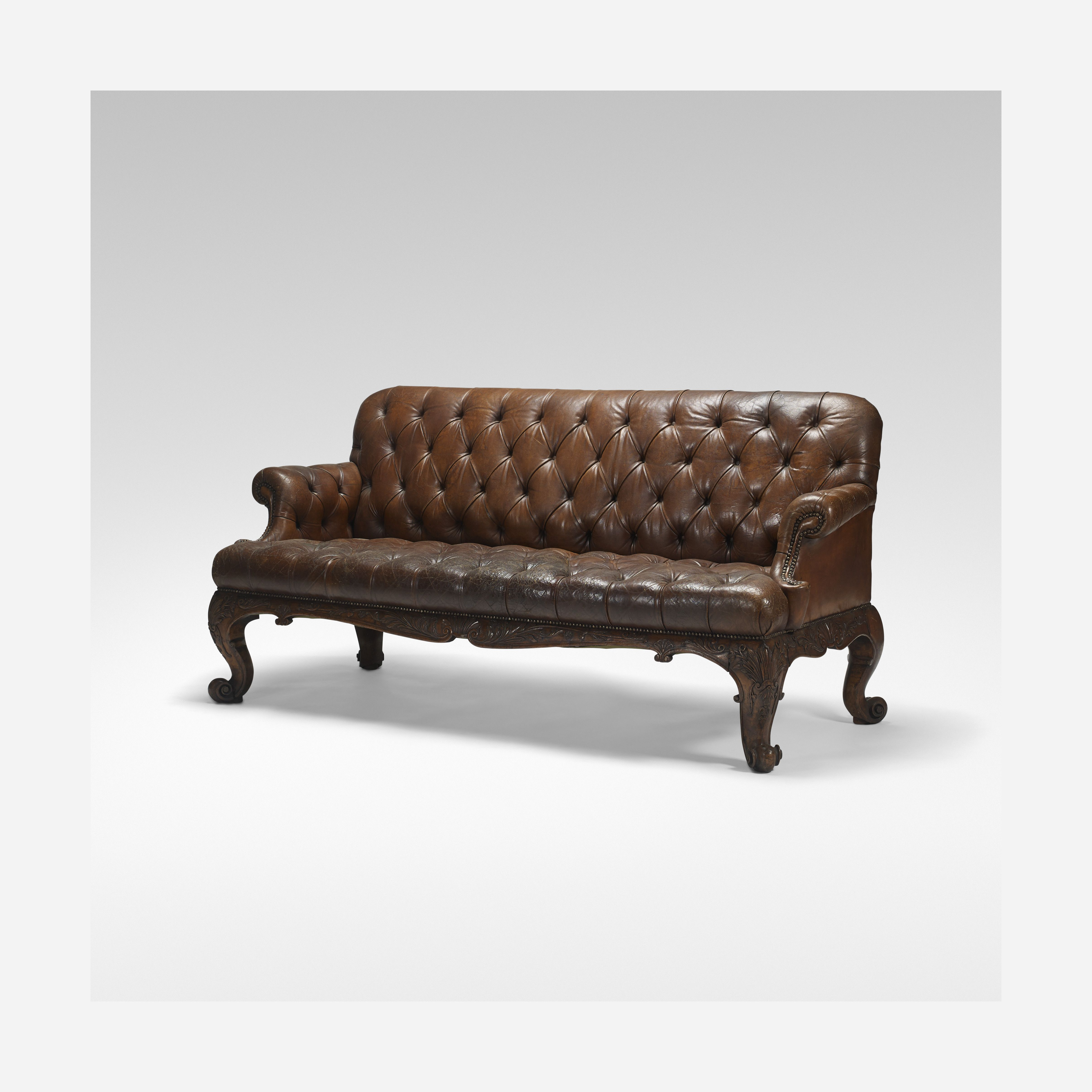 Victorian Chesterfield sofa c 1890 leather carved wood