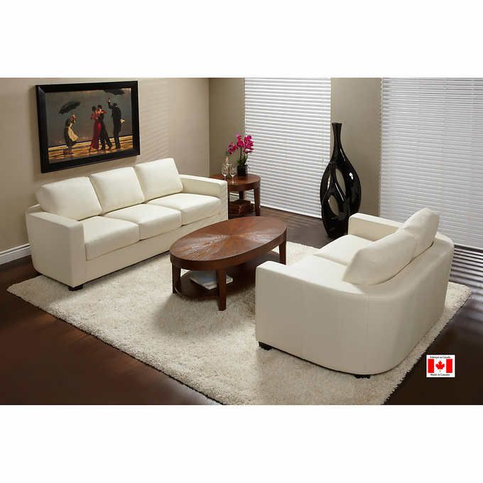 Lovely Livya Linen Top Grain Leather Set Sofa Loveseat and Chair Made in Canada White Glove Delivery Included Photos - Simple Sofa and Loveseat Set Minimalist