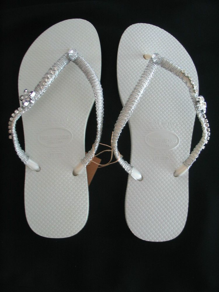 133e5bef2f5b4a HAVAIANAS Slim Flip Flops  Beach Sandals Various Sizes White Embellished   Havaianas  FlipFlops
