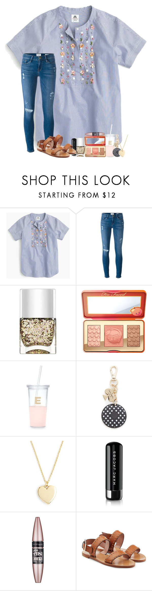 """""""love is such an incredible feeling on such an incredible day"""" by legitmaddywill ❤ liked on Polyvore featuring Thomas Mason, Frame, Nails Inc., Kate Spade, J.Crew, Marc Jacobs, Maybelline and RED Valentino"""
