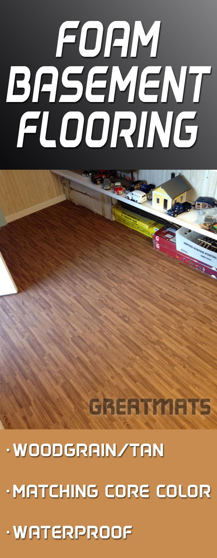 Reversible Wood Grain Foam Tiles Offer A Cushioned Waterproof And - Best material for basement floor