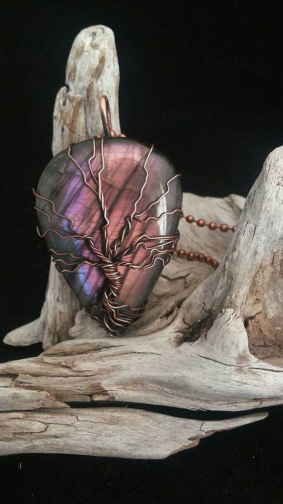 Violet rose Labradorite arbre de vie pendentif par EarthlyGemShop