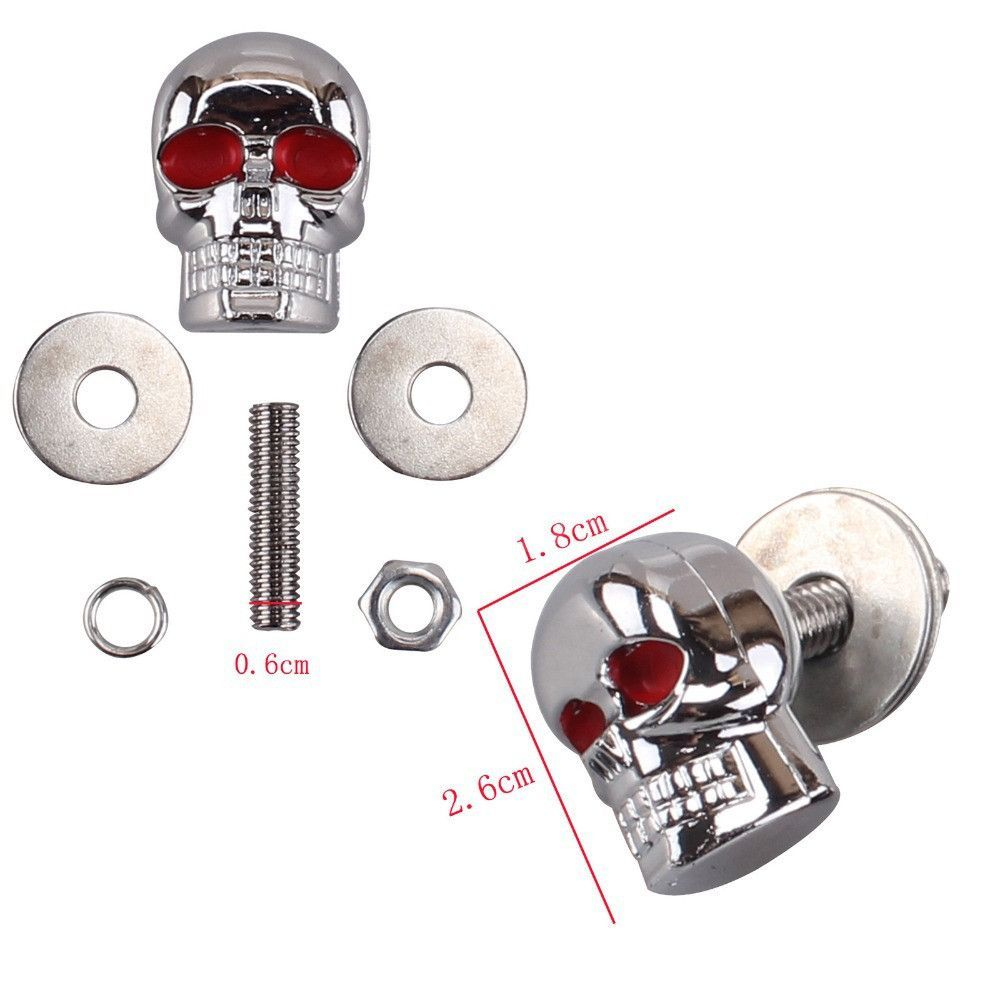 4pcs/lot 6mm Chrome Red Eye Motorcycle Skull License Plate Frame ...