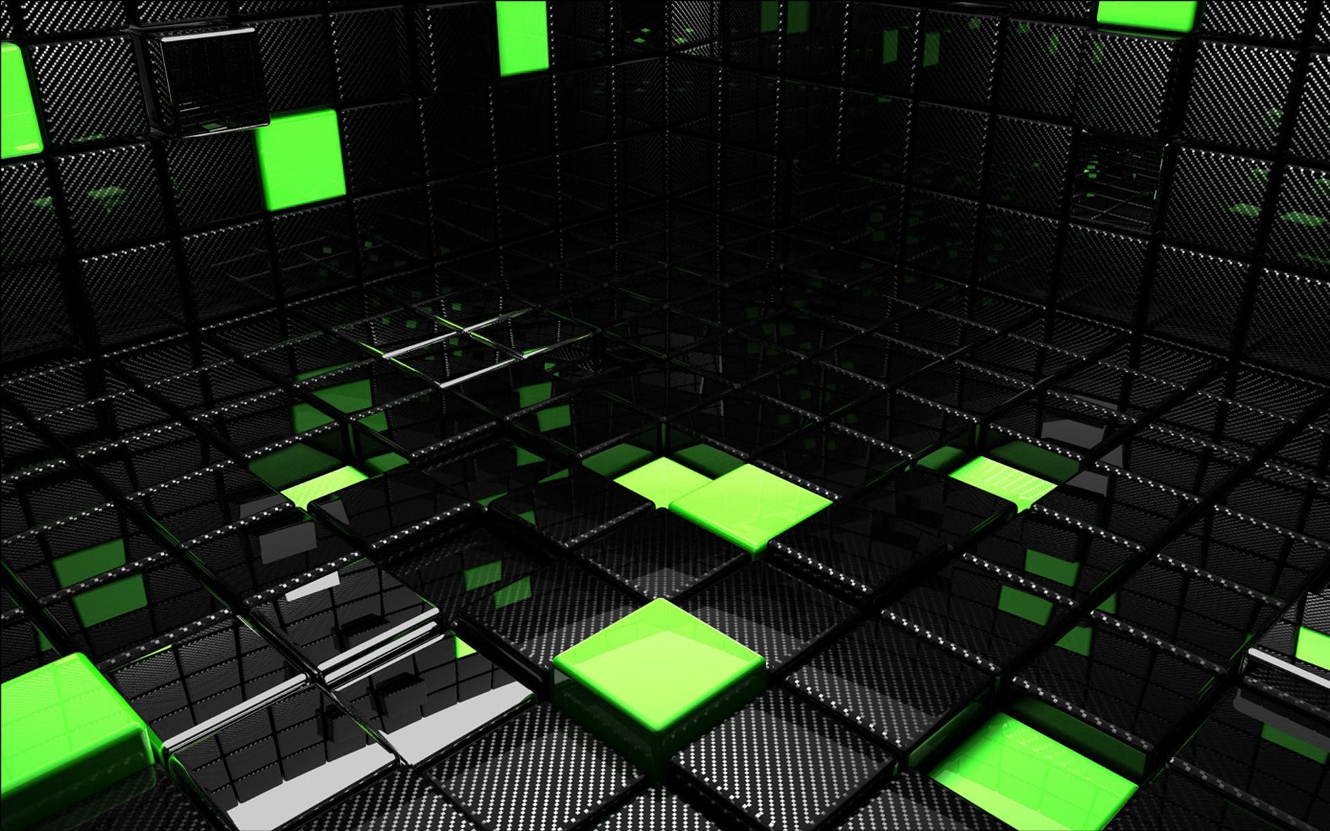 Papel De Parede Cubes Cubos Quadrados Preto Verde 3d Ps