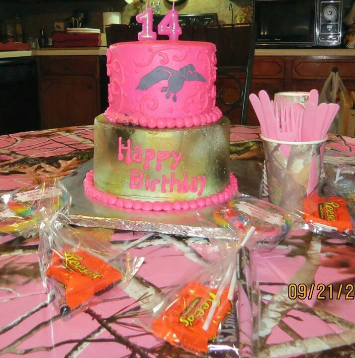 Pink camo duck commander cake my daughters 14th birthday cake