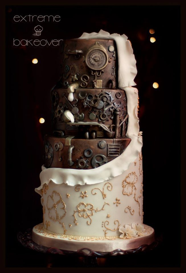 "Gorgeous steampunk wedding cake ""Power Within"" cake by Extreme Bakeover"