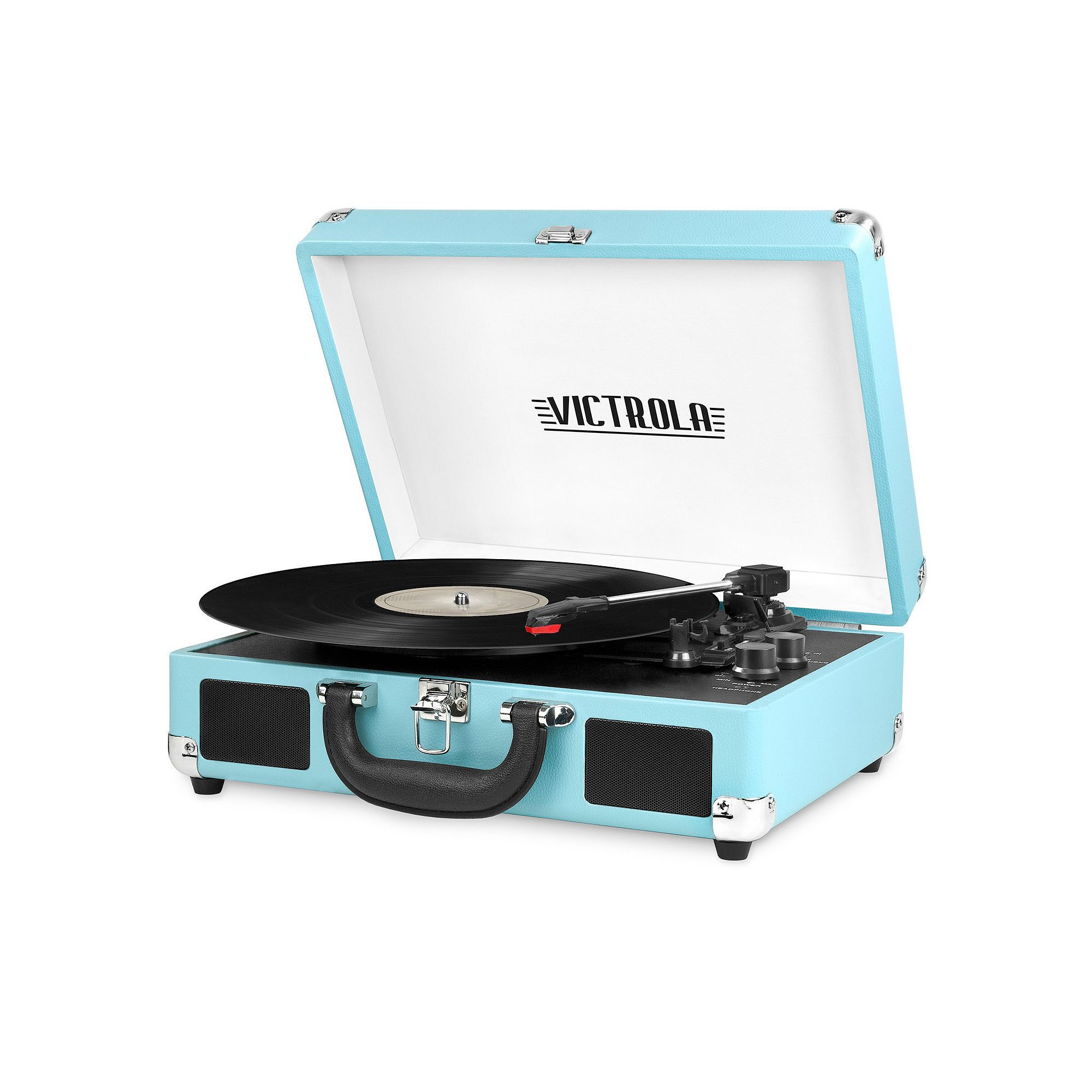 victrola portable suitcase record player with bluetooth red