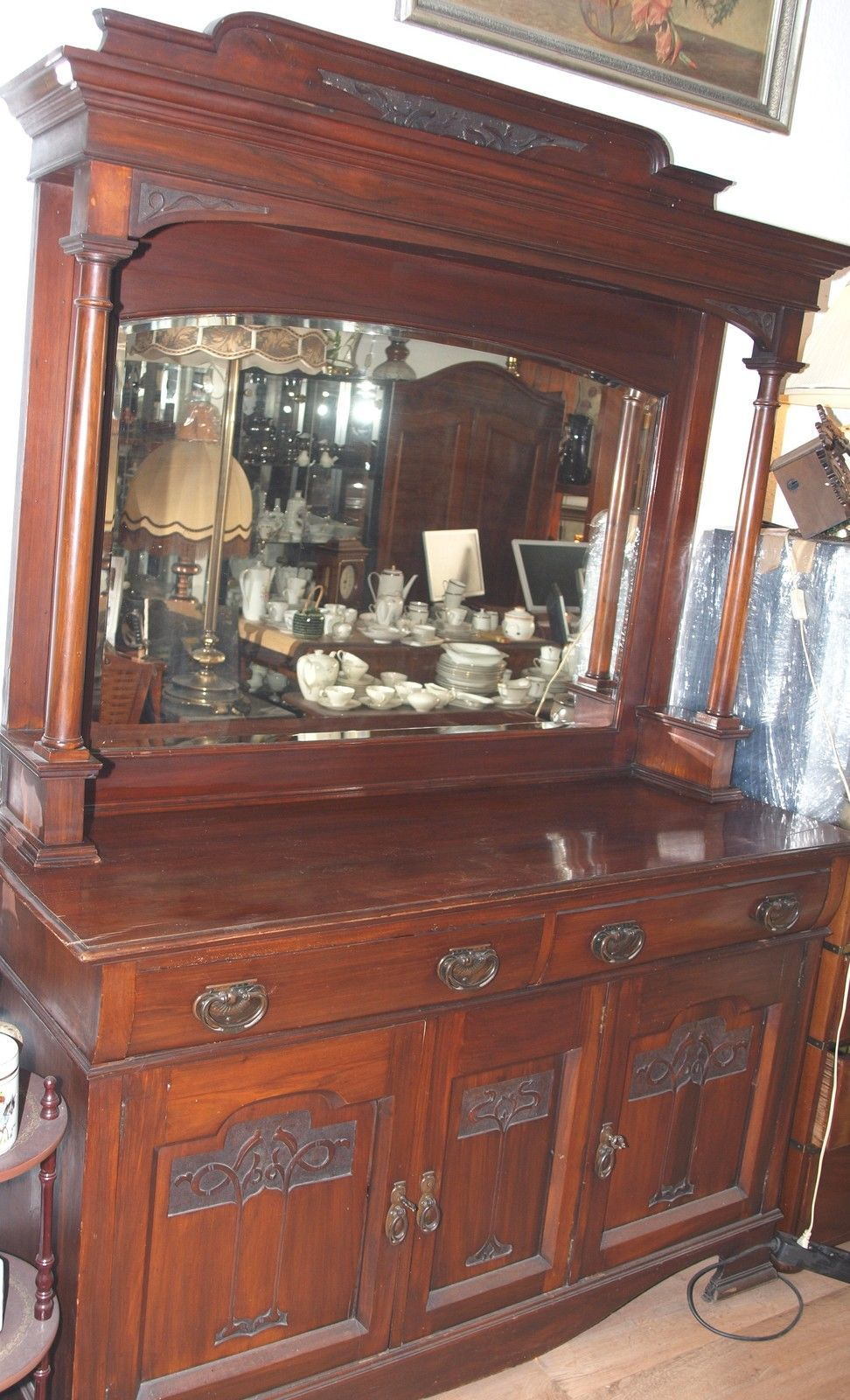 buffet buffetschrank anrichte jugendstil schrank m spiegel in in berlin ebay bars. Black Bedroom Furniture Sets. Home Design Ideas