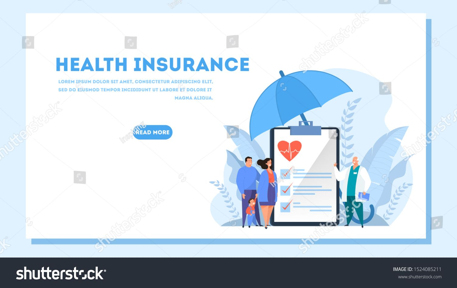 Health Insurance Concept Web Banner People And Doctor Standing At