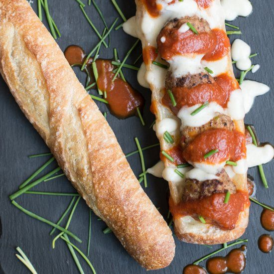 a healthier take on a classic game day sandwich turkey meatball hero with a surprise