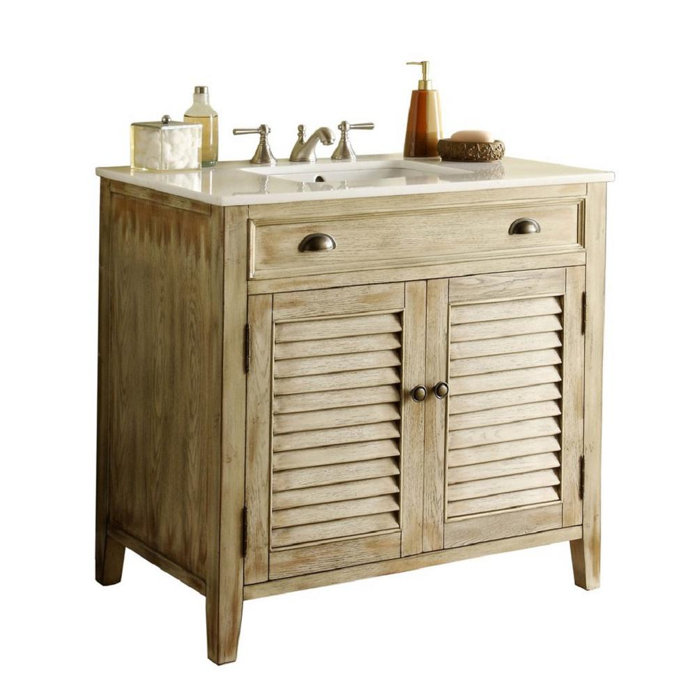 Modetti Usa Palm Beach 36 In W X 21 75 In D Vanity In Distressed Beige With Marble Vanity Top In White With White Basin Single Bathroom Vanity Traditional Bathroom Bathroom Sink Vanity
