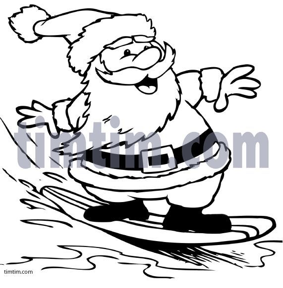 Surfing Santa Coloring Page With Images Santa Coloring Pages
