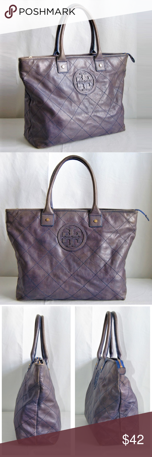 c2629c34665c Tory Burch Jaden Quilted Leather Tote Bag Signature Tory Burch logo  medallion in Blue  Grey