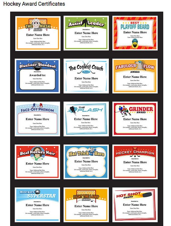 hockey certificates editable kid certificates child hockey mom