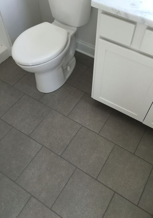 Gray Concrete Look Floor Tile Offset Installation Transitional