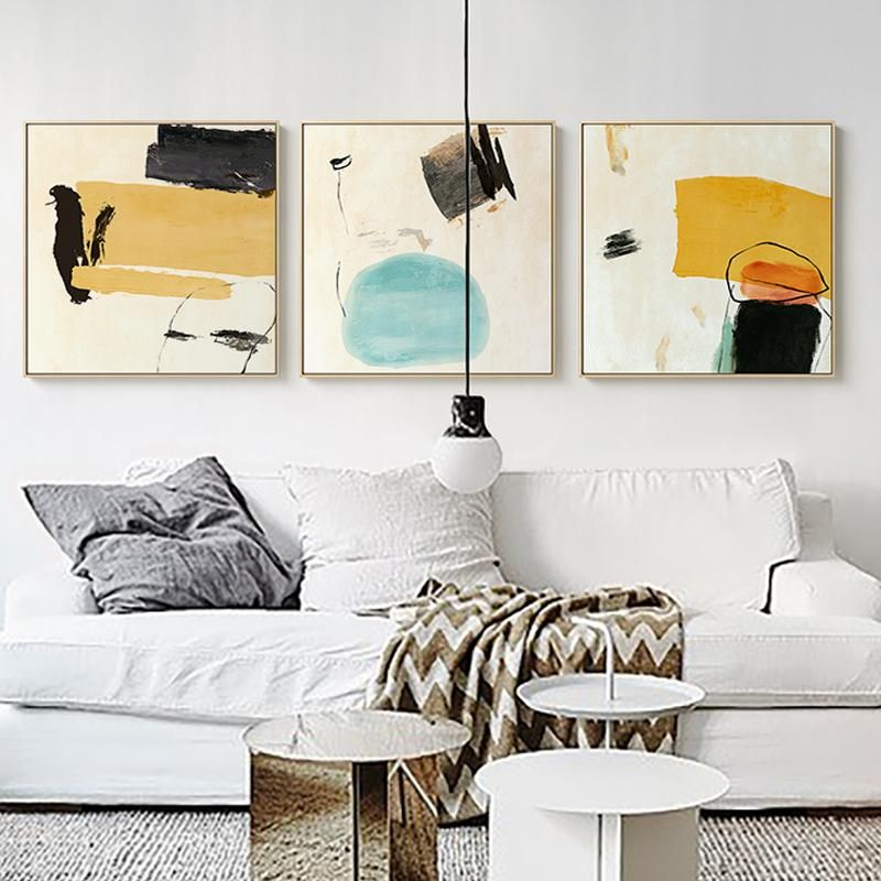 Gallery Wall Trio Of 3 Abstract Paintings Gallery Wall Free Gallery Wall Printables Funky Wall Art