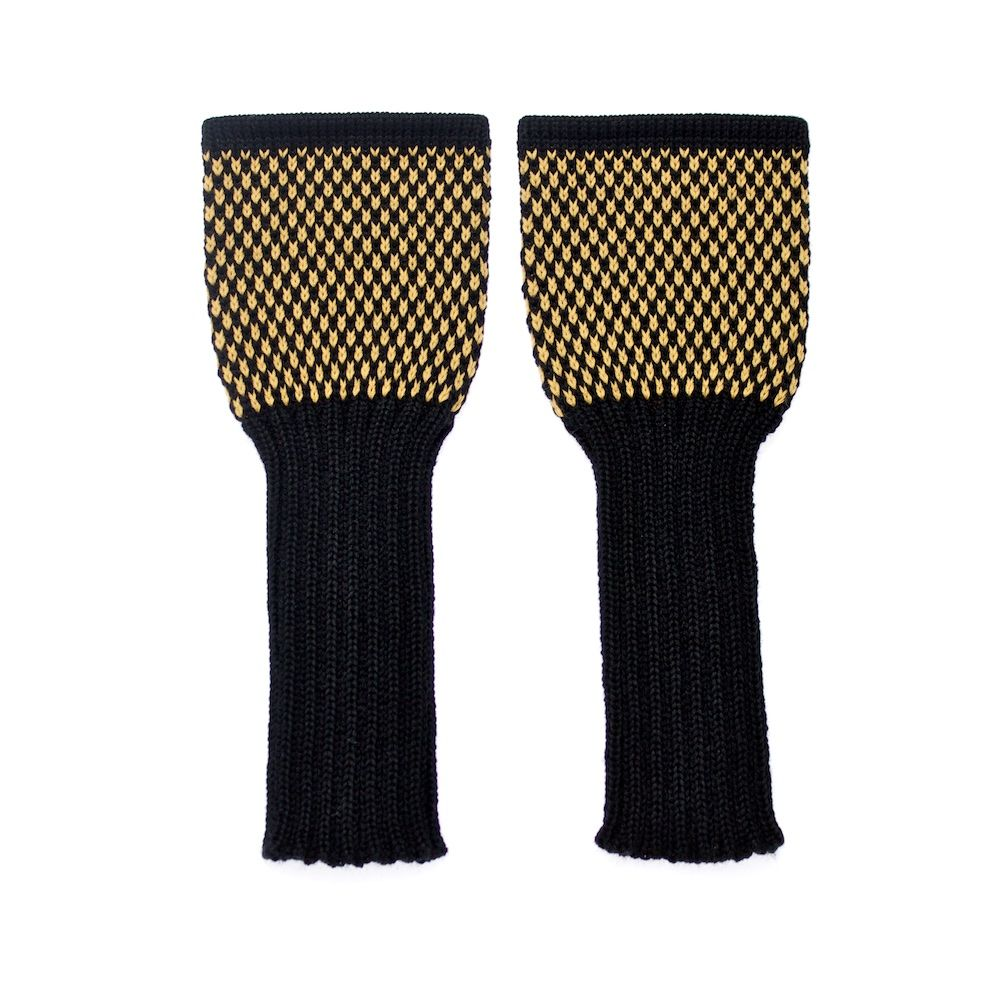 Back to Memphis | MARGOT & ME | Long Fingerless Gloves Olive | Armwarmers in Fair Isle Technique | black and yellow